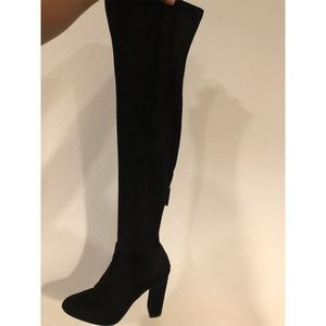Steve Madden black thigh high heeled  boots